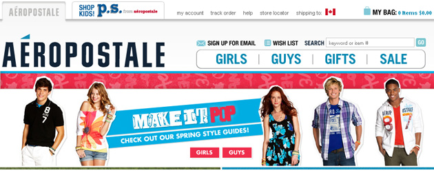 Aéropostale Teen and Kids Clothing online Store