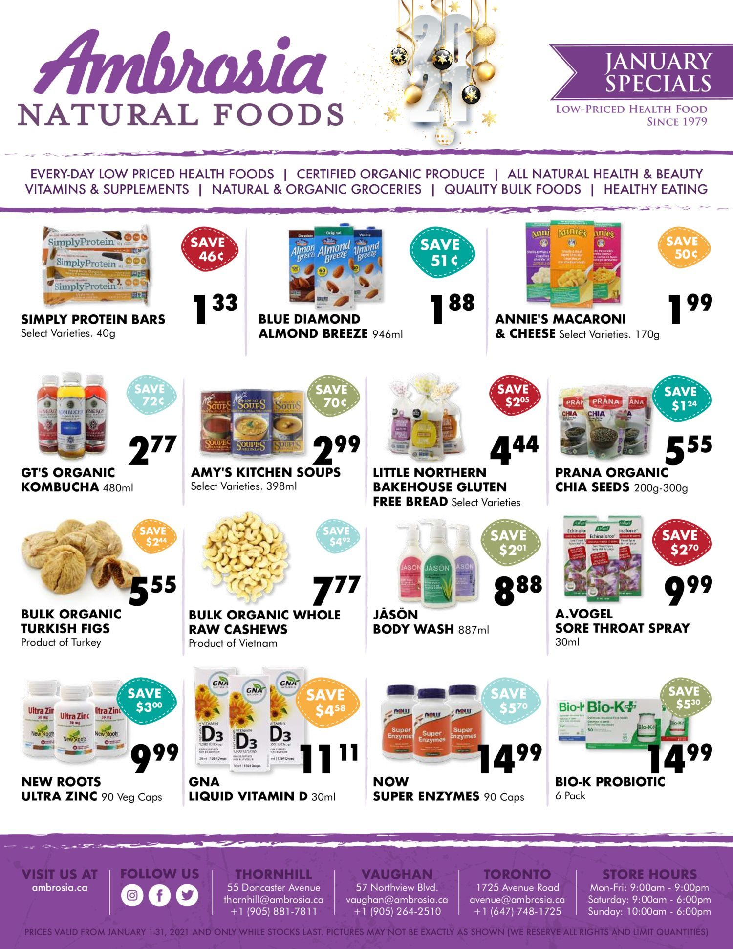 Ambrosia Natural Foods - January Specials