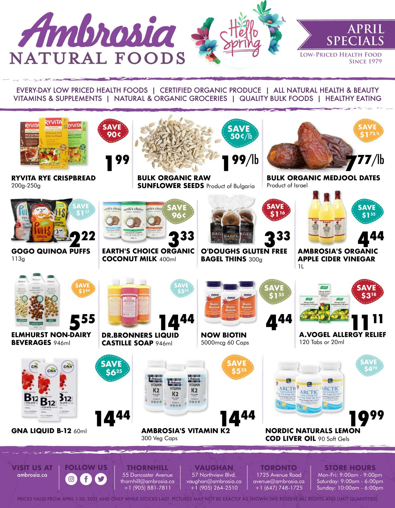 Ambrosia Natural Foods - Monthly Specials