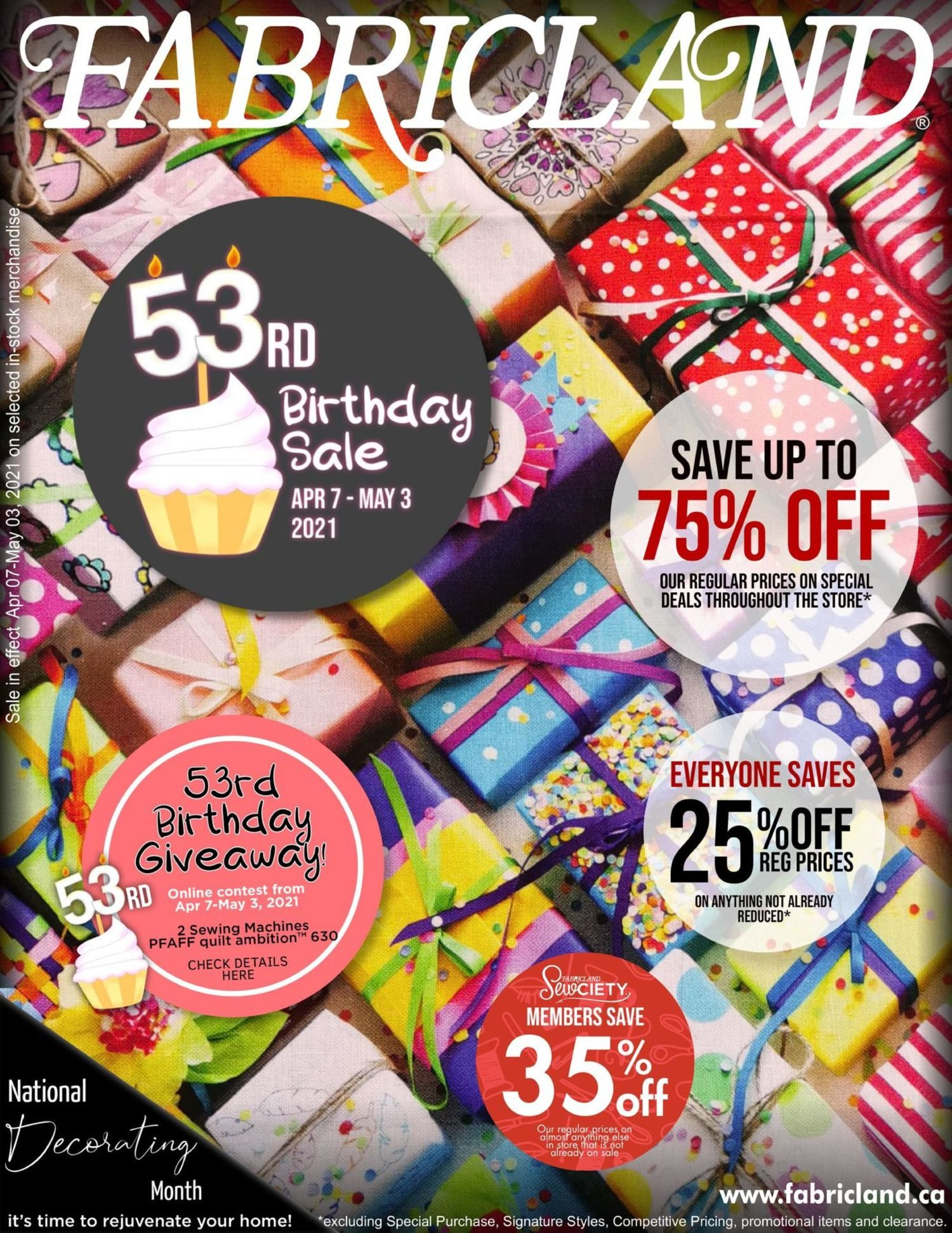 Fabricland - Monthly Offers - 53rd Birthday Sale