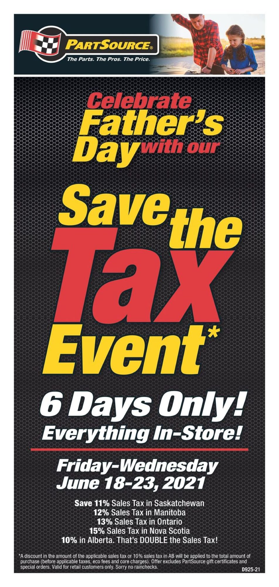 PartSource - Weekly Flyer Specials - Save The Tax Event