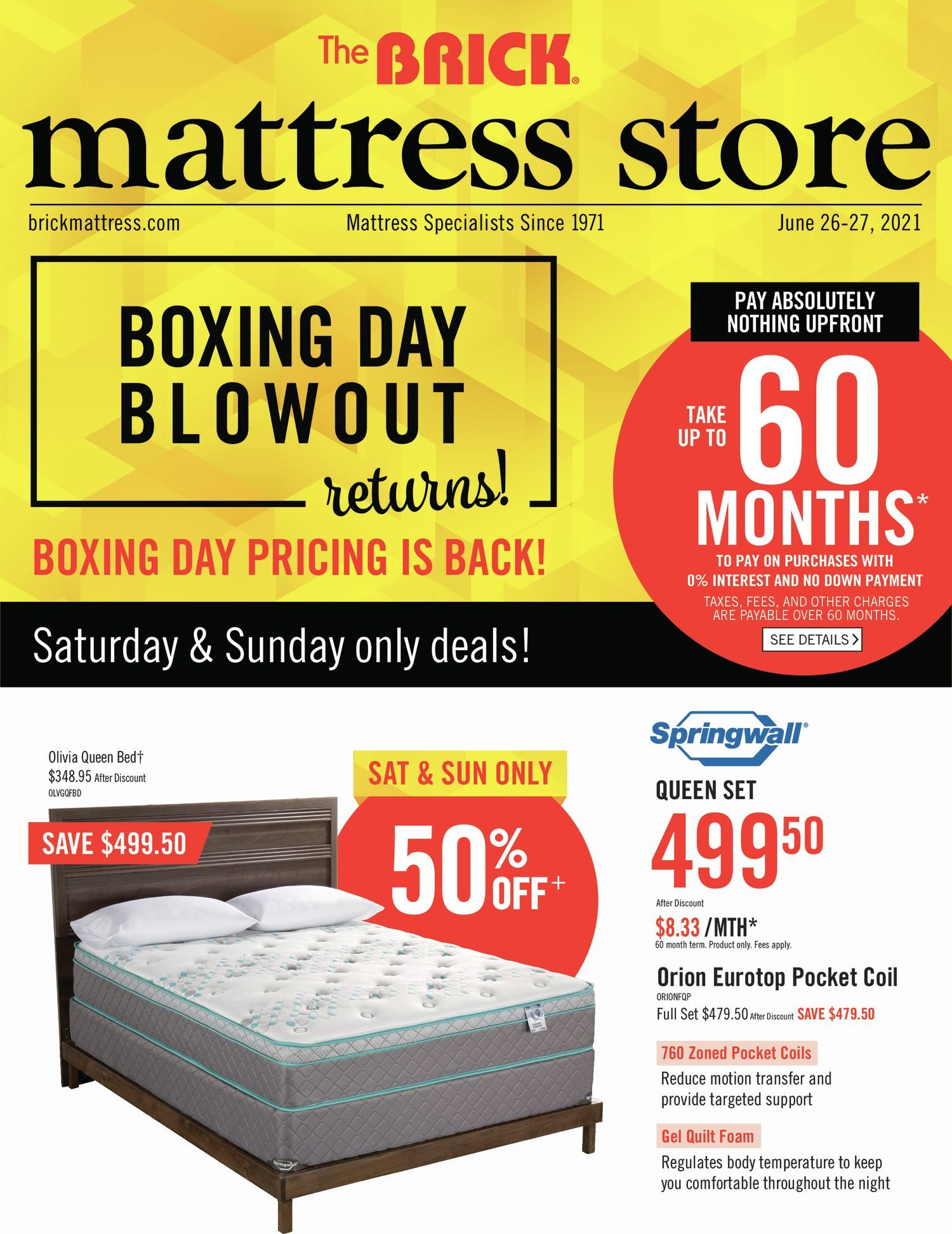 The Brick - Mattress Store - Boxing Week Blowout Returns