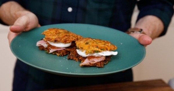 Sweet Potato-Green Onion Pancakes with Poached Eggs, Holiday Ham and Pepper Jam