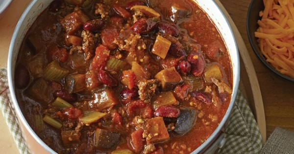 Spicy Eggplant and Beef Chili