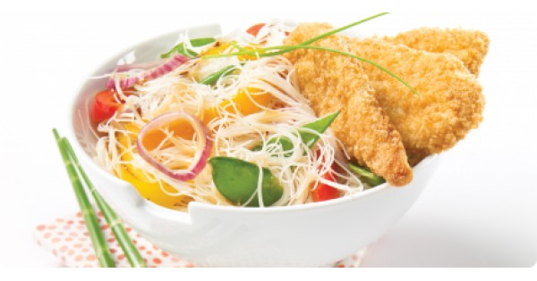 Thai-Style Rice Vermicelli and Gluten-Free Crunchy Breaded Chicken Breast Strips