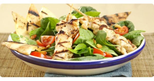Chicken Souvlaki Brochettes and Spinach Salad