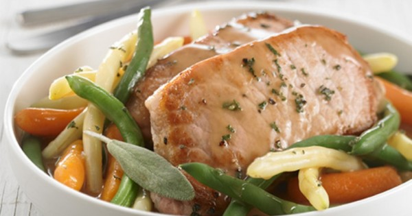 Pork Chops and Orleans Style Vegetables