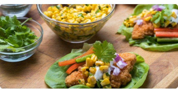 Mexican Lettuce Wraps with Crunchy Gluten-Free Chicken Breast Fillets
