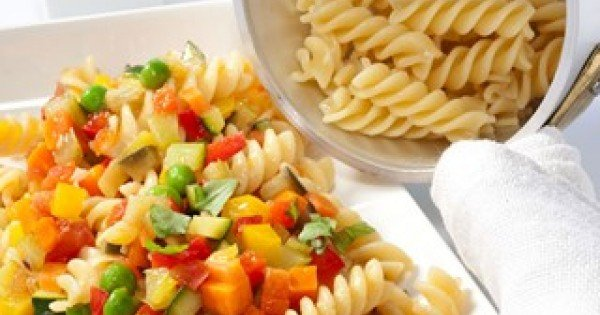 Fusilli with garden vegetables