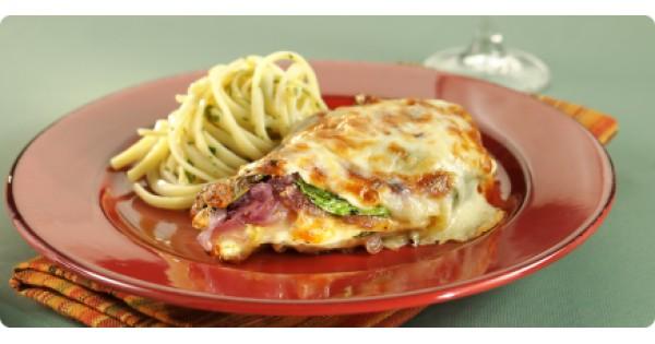 Grilled Chicken Breast with Spinach au Gratin