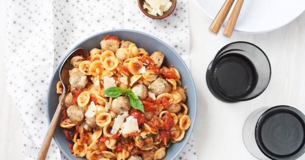 Mini Mozzarella Stuffed Turkey Zucchini Meatball Orrechiette