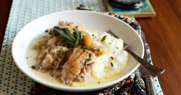 Slow-Cooker Chicken with Apples and Crème Fraiche