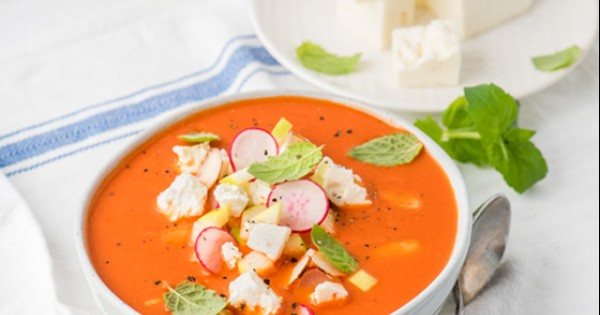 Watermelon, Red Bell Pepper and Feta Cheese Gazpacho