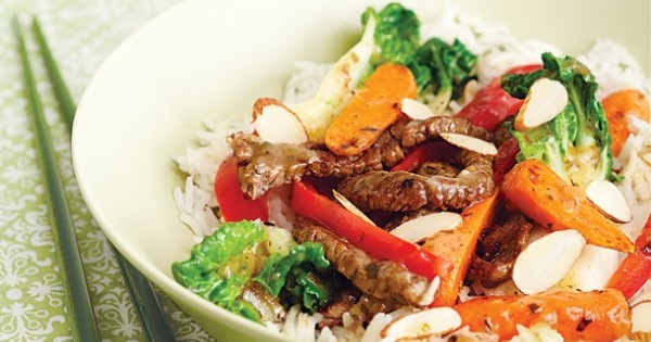 Beef, Bok Choy & Red Pepper Stir-Fry