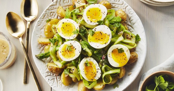 Shaved Asparagus Potato Salad with Soft Boiled Eggs