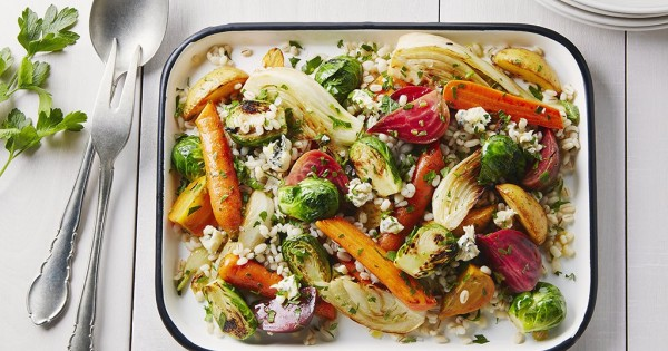 Roasted Vegetable, Gorgonzola, Pearl Barley Salad