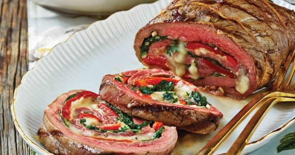 Spinach & Chaumes Cheese-Stuffed Flank Steak