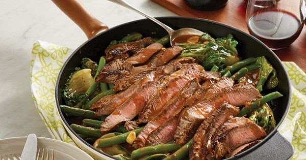 One Skillet Pepper Steak with Beans and Greens