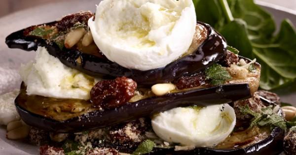 Grilled Layered Eggplant with Mozzarina di Bufala