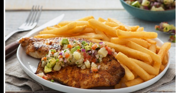 Mexican Pan Fried Tilapia, Pineapple Pico de Gallo and Superfries®