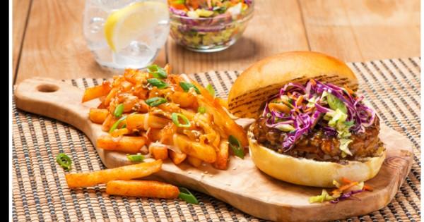 Kimchi Fries with Hoisin Glazed Burger & Slaw