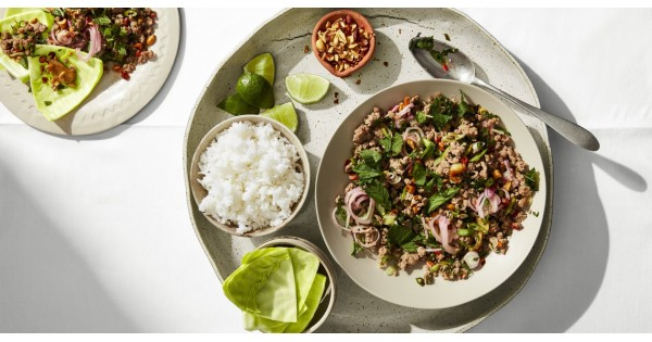 Spicy Larb with Cabbage Cups