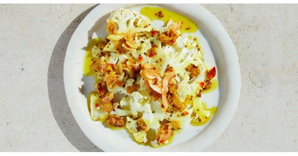 Shaved Cauliflower Salad with Coconut-Turmeric Relish