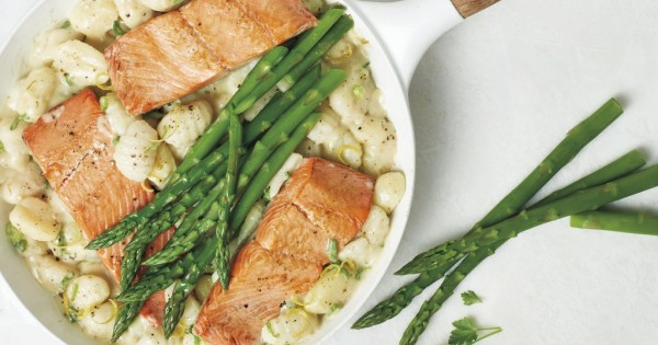 Salmon and Creamy Asparagus Gnocchi