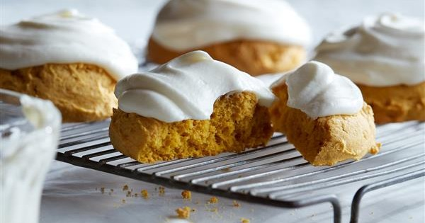 Big Soft Pumpkin Cookies with Cream Cheese Frosting