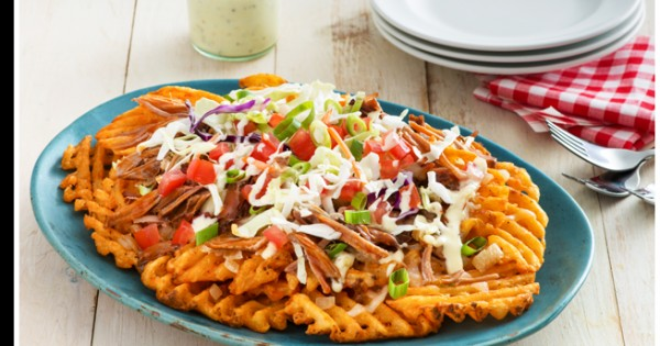 Pulled Pork Spicy Lattice Nachos