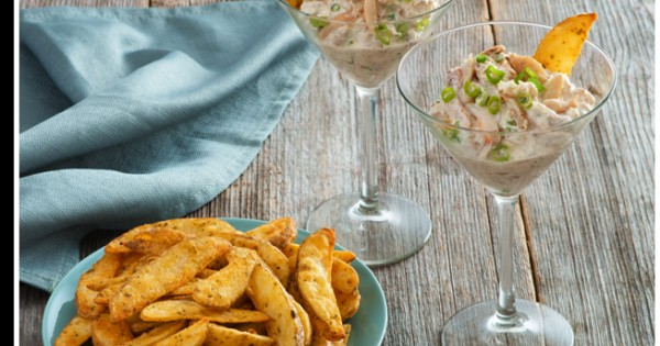 Spicy Crab Cake Dip & Savoury Wedges