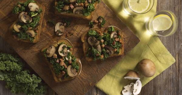 Sautéed Kale and Mushroom Toast with Pancetta