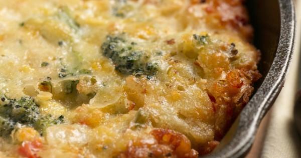 Cheese and Broccoli Cornbread Skillet