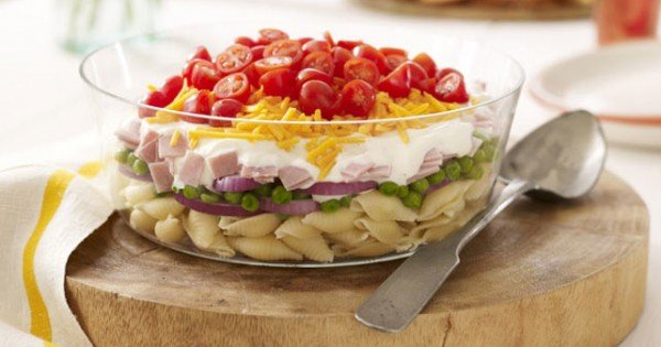 Layered Ham and Cheese Salad