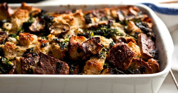 Savory Bread Pudding With Kale and Mushrooms