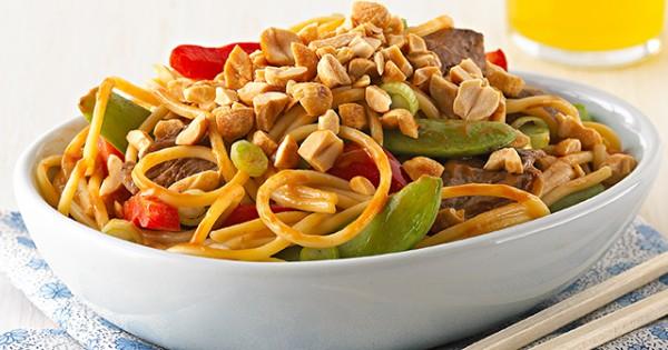 Asian Peanut Beef & Noodles