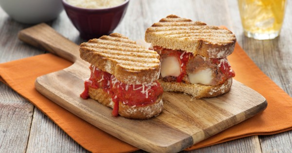 Mozzarella Stuffed Meatball Panini