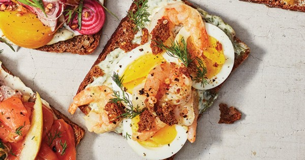 Smørrebrød of Eggs, Shrimp, and Dill