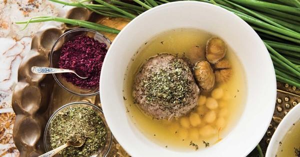 Stuffed Meatballs and Chestnuts in Saffron Broth (Küfta Bozbash)