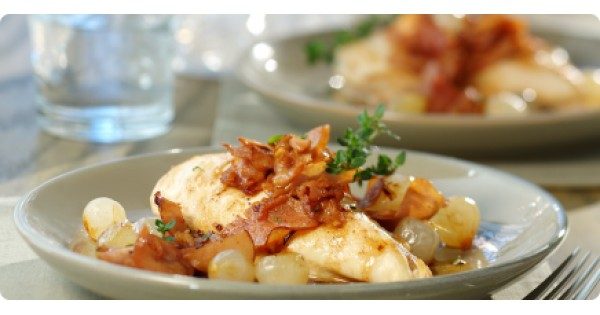 Chicken Breast and Pan-fried Ham with Pearl Onions and Cider