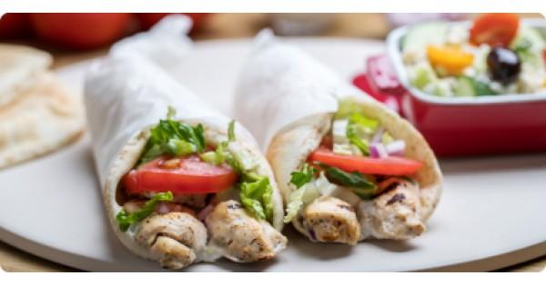 Greek chicken souvlaki pita