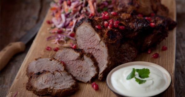 BBQ Moroccan Leg of Lamb with Summer Slaw