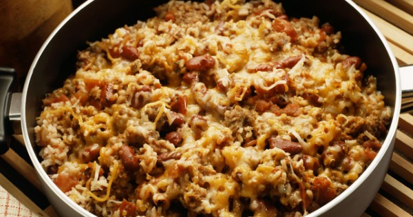 One-Pot Cheesy Sausage, Beans and Rice Dish