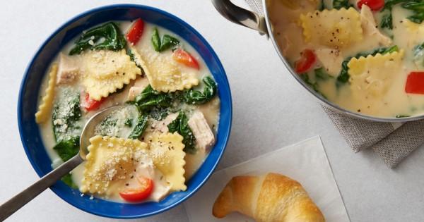One-Pot Creamy Tuscan Ravioli Soup