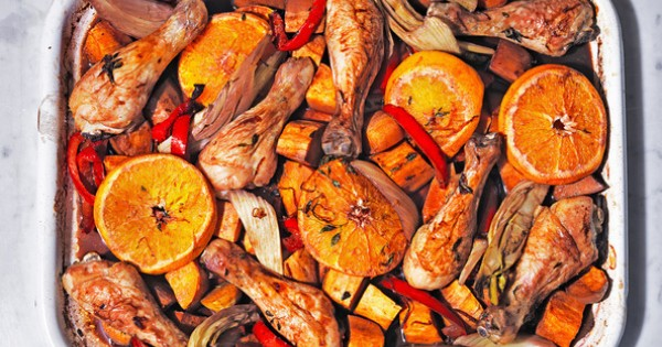 Sangria chicken traybake