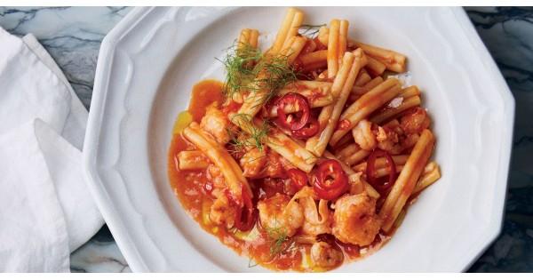 Rock Shrimp Pasta with Spicy Tomato Sauce