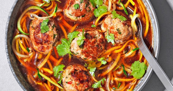 Spiralized veggie noodle soup with prawn and pork meatballs