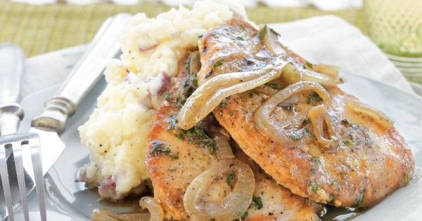 Pork Chops with Tarragon-Onion Gravy