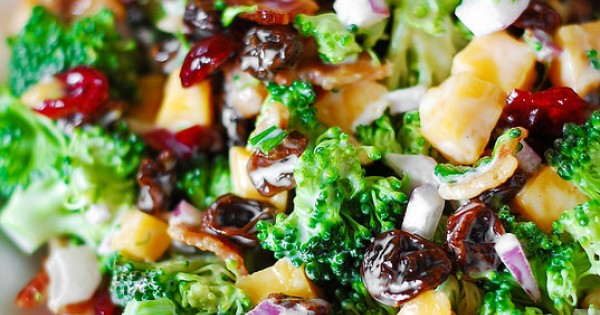 Broccoli Salad with Bacon Raisins and Cheese