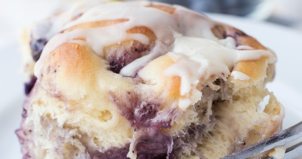 Soft and Pillowy Blueberry Breakfast Rolls